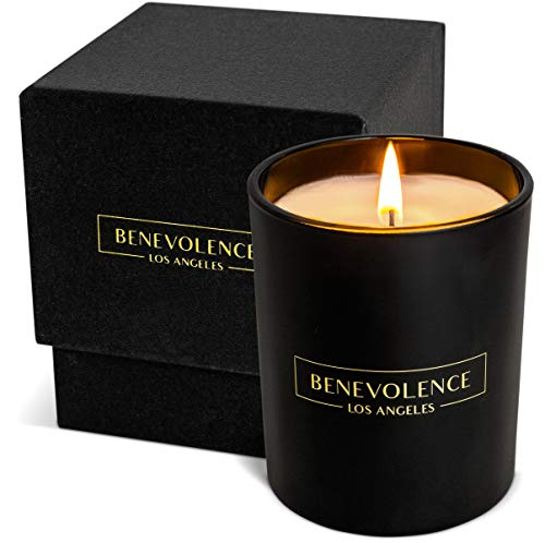 Benevolence LA Premium Oud Wood Hand Poured Scented Candles, 8 oz | 45 Hour Burn, Long Lasting, Highly Scented, All Natural Soy Candles | Relaxing Aromatherapy Candle with Matte Black Glass Gift Box
