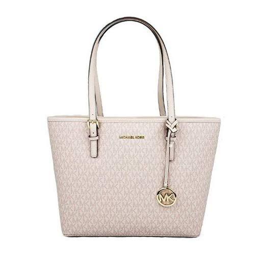 - MICHAEL Michael Kors Jet set travel medium MD carryall tote bag signature PVC ballet pink