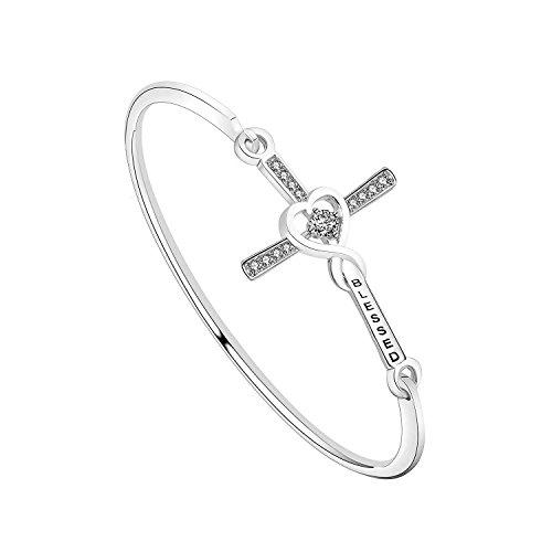 (Blessed Cross Bracelet CZ Stone Infinity Cross Bangle for Girls (Silver))