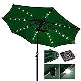 9ft Outdoor Patio Solar Power LED Aluminium Umbrella Sunshade UV Blocking Tilt Hand-Crank - Green #914
