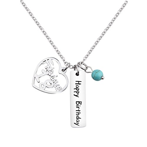 - KUIYAI 18th Happy Birthday Necklace Birthday Gift Jewlery with Turquoise Bead (18th necklace)