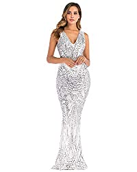 Silver Sequin V Neck Backless Spaghetti Strap Dress
