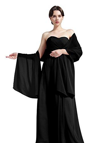 Sheer Soft Chiffon Bridal Women's Shawl For Special Occasions Black 79