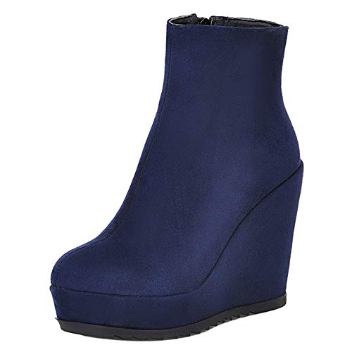 JOJONUNU Women Wedge Heel Ankle Boots Zip Blue