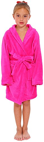 Simplicity Big Boys' Microfiber Terry Hooded Robe Bathrobe, Rose, M (Toddler Girl Robe)