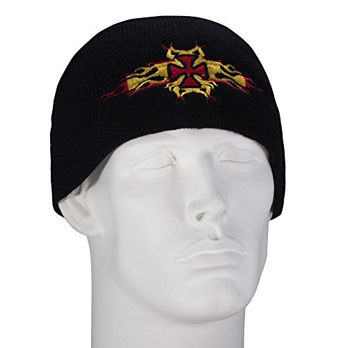 Flaming Maltese Cross Embroidered Black Beanie - Single Piece