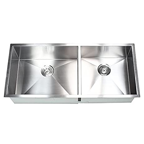 42 inch stainless steel undermount 60 40 double bowl kitchen sink zero radius design 42 inch stainless steel undermount 60 40 double bowl kitchen sink      rh   amazon com