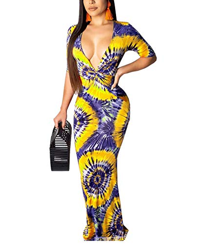 OLUOLIN Women Sexy Tie Dye Floral Print Deep V Neck Short Sleeve Ruched Waist Bodycon Boho Party Beach Long Maxi Dress Yellow XL