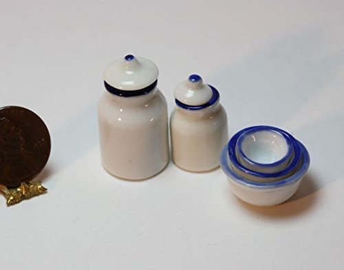 Price comparison product image Dollhouse Miniature Set of 3 Mixing Bowls & 2 piece Canister Set in White w Blue Trim