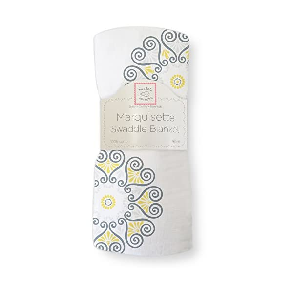 SwaddleDesigns Marquisette Swaddling Blanket, Premium Cotton Muslin, Yellow Medallions