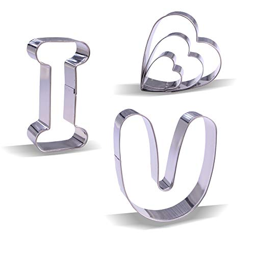 Valentine's Day Cookie Cutter Set - I, Heart, U - 3 Inch - 5 piece - Stainless -