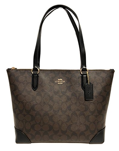 Coach Signature PVC Leather Zip Tote (IM/Brown/Black)