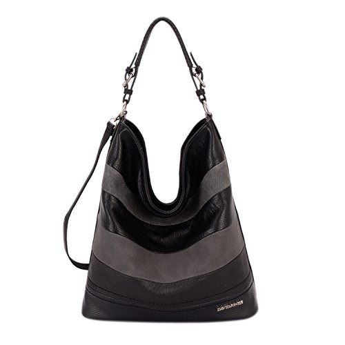 Black Hobo (DAVIDJONES Women's Large Hobos Tote Purse Shoulder Bags Ladies Top-handle Handbags)