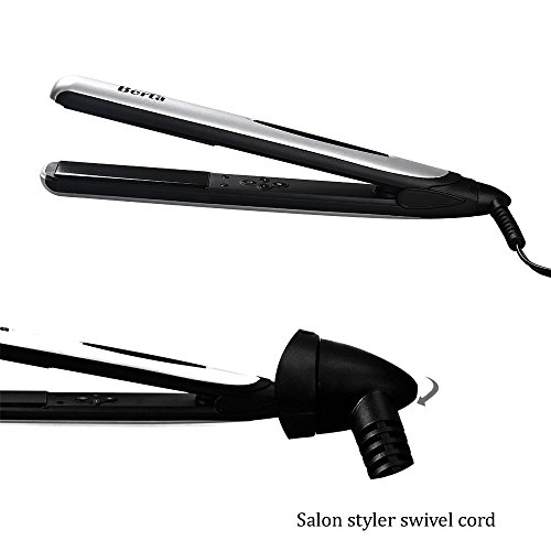 BERTA Professional Hair Straightener 1inch 3D Floating Plate Hair Flat Iron Silver