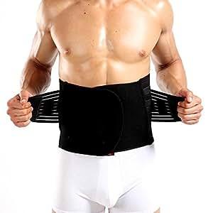 Waist Slimming Belt Tummy Belly Abdomen Trimmer Tight Shaper Fat Burner for Men (L)