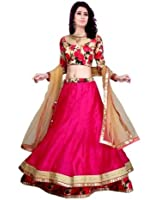 Sky Global Women Raw Silk Lehenga Choli(Sky_Lehenga_124_Pink_Free Size)