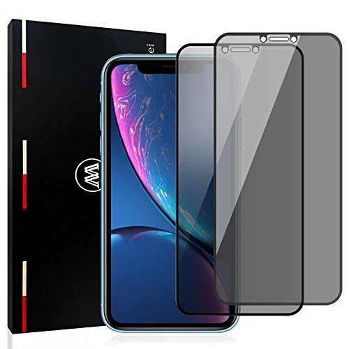 Mowei 2-Pack iPhone XR Privacy Screen Protector, Anti-Spy/Peeping [LG Privacy Filter] Full Tempered Glass Screen Protector for Apple iPhone Xr [Case-Friendly]