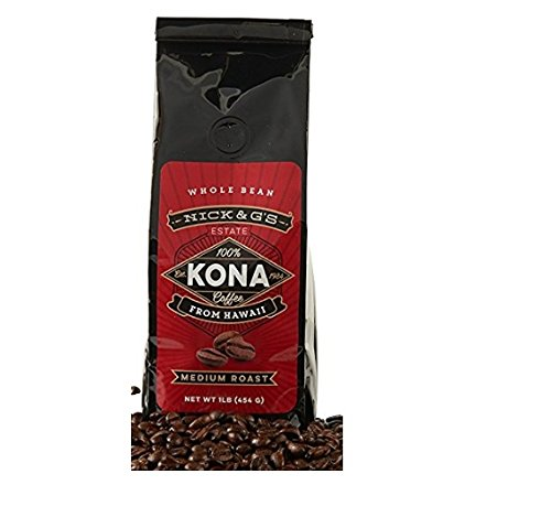 Nick & G's Kona Coffee Whole Bean– Gourmet, 100% Estate-Grown, Private Reserve, Hawaiian, Hand Picked, Medium Roast Hawaiian, Not a Blend, Premium, Fresh Farm (Medium Roast, 16oz)