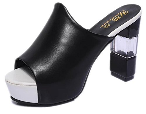 YCMDM Damen Sandalen Sommer Sandalen PU Casual Chunky Ferse Schwarz Weiß , black , us6.5-7 / eu37 / uk4.5-5 / cn37