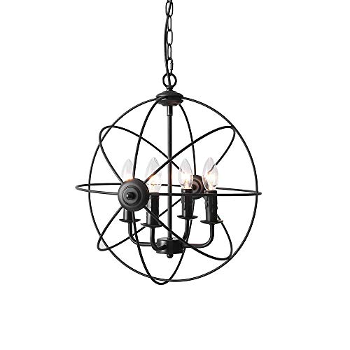 6light Industrial Chandelier Rustic Sphere Pendant Light Hanging Ceiling Fixture For Dining Room: Kitchen Ceiling Light Wiring Diagram At Ultimateadsites.com
