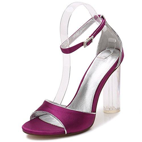 high Tacones Boda de Mujer F2615 shoes Tamaño Bombas de Zapatos Seda Para 8 de de de del Purple Cristal Partido Altos Elegant q4xCAandwq