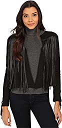 VELVET BY GRAHAM & SPENCER Women\'s Fringe Jacket, Black, Small