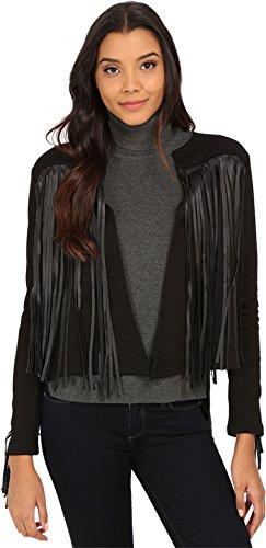Vintage Black Velvet Blazer Jacket (VELVET BY GRAHAM & SPENCER Women's Fringe Jacket, Black,)