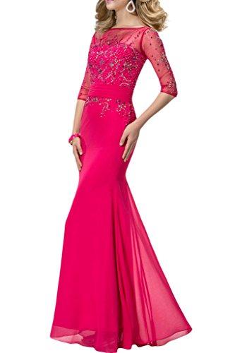 Lang Abendkleid Halb Ausschnitt U Ivydressing Aermel Damen Guertel Promkleid Rosa Chiffon amp;Tuell Festkleid YBZYqw