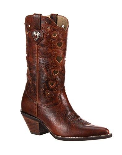 Durango Womens Crush Heart Saddle Brown Boot 8.5 B (M) (Wild Steel Mesh Horse)