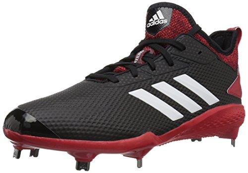 adidas Mens Adizero Afterburner V Baseball Shoe, Black/Cloud White/Power red, 11 M US
