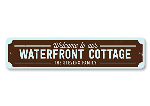 (The Lizton Sign Shop Waterfront Cottage Sign, Personalized Welcome Beach Sign, Custom Family Name Sign, Metal Beach House Decor - Quality Aluminum ENSA1001635-9 x36 Quality Aluminum Sign)