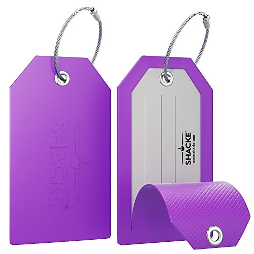 (Shacke Luggage Tags with Full Back Privacy Cover w/Steel Loops - Set of 2)