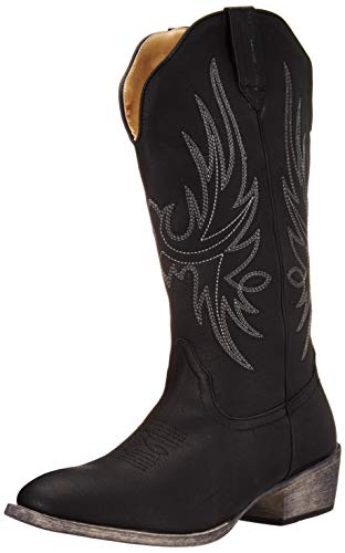 (Women's Western Cowgirl Cowboy Boot | Black Cimmaron Round Toe by Silver Canyon)