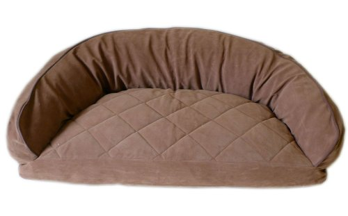 CPC Diamond Quilted Semi Circle Saddle Lounge for Dogs and Cats with Chocolate Piping, 42 x 27 x 12-Inch