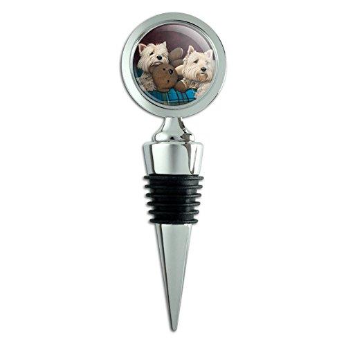 Westie West Highland White Terrier Dogs Teddy Bear Wine Bottle Stopper