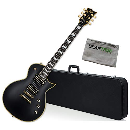 ESP LTD EC-1000 VB Duncan Vintage Black Electric Guitar Bundle w/Case and Cloth