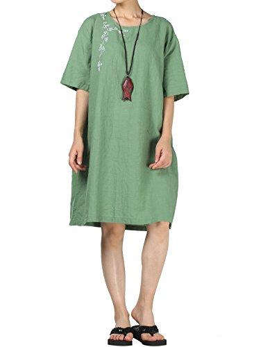 Mallimoda Damen Neue Plus Größe Embroidery Leinen Kleid Grün PcQ2eU5iG 84895c0712