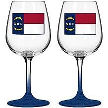 "Boelter Brands ""North Carolina State Flag"" Wine Glass, 12-ounce, 2-Pack"