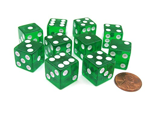 16mm d6 Green Translucent Square Edge Dice with Pips