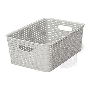 YBM Home Plastic Rattan Storage Box Container Open Bin Basket Closet Shelf Kitchen Cabinet Pantry Office Desktop Organizer ba425-gray (Medium, Gray)