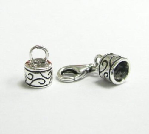 1 set .925 Sterling Silver Bead 5mm Leather Cord End Cap With 11mm Lobster Clasp/Findings/Antique Dreambell SX183BX1