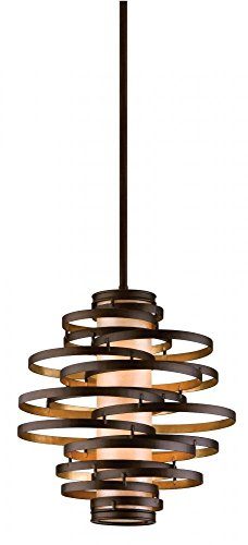 Corbett Lighting 113-42-F Vertigo 2 Light Pendant Finish, Bronze/Gold Leaf (Mission Two Light Island)