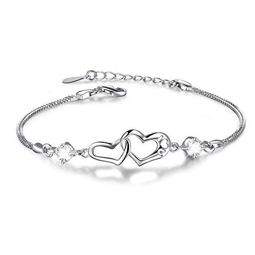 (Double Heart Adjustable S925 Sterling Silver Crystal Interlocking Bracelet ,More Women Girls Girlfriend Prefer to Wear This Bracelet Everyday,Gift for Her Birthday Back to School Gift for Her Teacher)