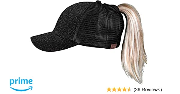 H-209-06 Messy Bun Ponytail Hat - Glitter (Black) at Amazon Women s  Clothing store  2bc1e5021f69