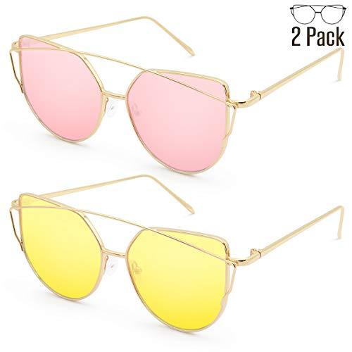 Livhò Sunglasses for Women, 2 Pack Cat Eye Mirrored Flat Lenses Metal Frame Sunglasses UV400 (Gold Pink + Gold -