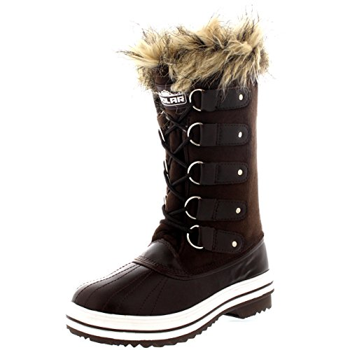 Womens Lace Up Rubber Sole Tall Winter Snow Rain Shoe Boots - 8 - BRS39 YC0064
