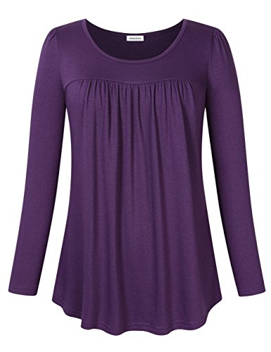 - Clearlove Women's Tops and Blouses Long Sleeve Scoop Neck Plus Size Pleated Tunic T Shirt Long Sleve Dark Purple XXXX-Large