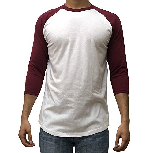 Athlete 3/4 Sleeve Top - KANGORA Men's Plain Raglan Baseball Tee T-Shirt Unisex 3/4 Sleeve Casual Athletic Performance Jersey Shirt (24+ Colors) (White Burgundy, Small)