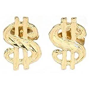 Amazon.com: 14K Gold Dollar Sign Earrings: Jewelry