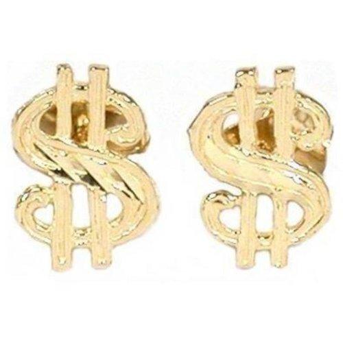 14K Gold Dollar Sign Earrings (14k Gold Dollar Sign)